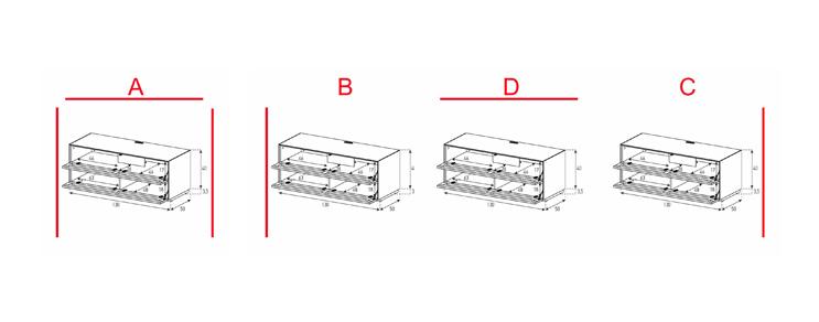 EX10-TT - Lowboard avec volets portes textile / textile