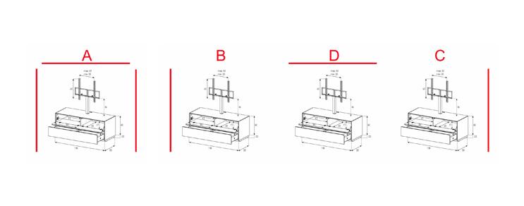 EX11-FD - Lowboard mit Klapptür und Schublade