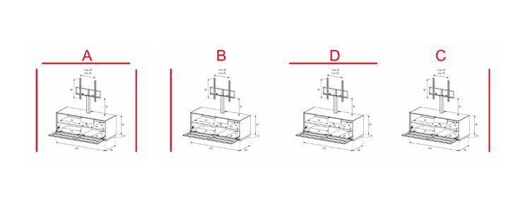 EX11-TS - Lowboard mit Klapptür Textil (Soundbar)