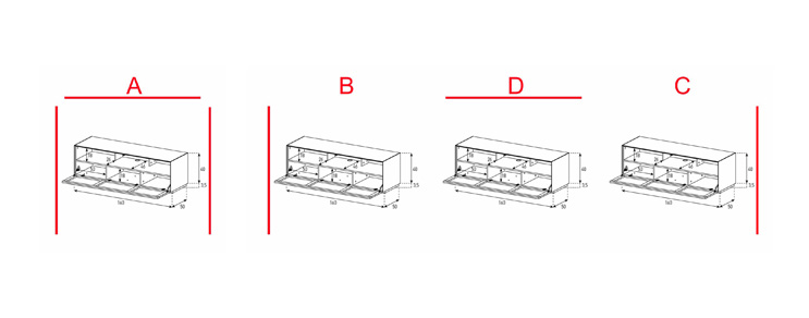 EX32-TS - Lowboard mit Klapptür Textil (Soundbar)