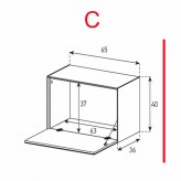Lowboard Sonorous Elements ED50-F-C - TV-Möbel mit Klapp-Tür / kombinierbar