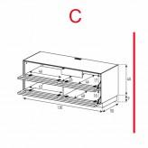 Des éléments Sonorous Lowboard EX10-TT-C / TV-armoires avec décor en bois Amazone et 2 tissu pliage porte / combiné