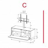 Lowboard Sonorous Elements EX11-F-C - TV-Möbel mit Klapp-Tür mit TV-Halterung / kombinierbar