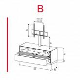 Lowboard Sonorous Elements EX11-TD-B - TV-Möbel mit stoffbezogener Klapp-Tür und Schublade mit TV-Halterung / kombinierbar