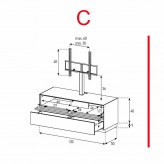 Lowboard Sonorous Elements EX11-TD-C - TV-Möbel mit stoffbezogener Klapp-Tür und Schublade mit TV-Halterung / kombinierbar