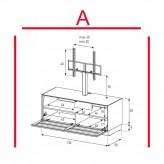 Lowboard Sonorous Elements EX11-TS-A - TV-Möbel mit stoffbezogener Klapp-Tür mit TV-Halterung / kombinierbar