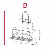 Lowboard Sonorous Elements EX11-TS-B - TV-Möbel mit stoffbezogener Klapp-Tür mit TV-Halterung / kombinierbar