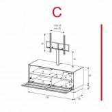 Lowboard Sonorous Elements EX11-TS-C - TV-Möbel mit stoffbezogener Klapp-Tür mit TV-Halterung / kombinierbar