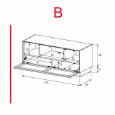 Lowboard Sonorous Elements EX12-TC-B - TV-Möbel mit stoffbezogener Klapp-Tür / kombinierbar