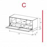 Lowboard Sonorous Elements EX12-TC-C - TV-Möbel mit stoffbezogener Klapp-Tür / kombinierbar