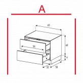 Lowboard Sonorous Elements EX20-DD-A - TV-Möbel mit 2 Schubladen / kombinierbar