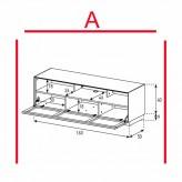 Lowboard Sonorous Elements EX32-TS-A - TV-Möbel mit stoffbezogener Klapp-Tür / kombinierbar
