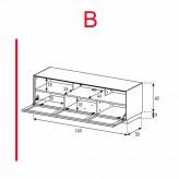 Lowboard Sonorous Elements EX32-TS-B - TV-Möbel mit stoffbezogener Klapp-Tür / kombinierbar