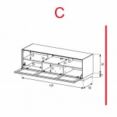 Lowboard Sonorous Elements EX32-TS-C - TV-Möbel mit stoffbezogener Klapp-Tür / kombinierbar