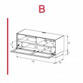 Lowboard Sonorous Elements EX50-TS-B - TV-Möbel mit stoffbezogener Klapp-Tür / kombinierbar